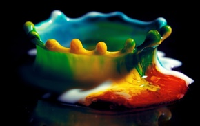 liquid, macro, water drops, splashes, colorful