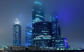 cities, city, night, lights, mist