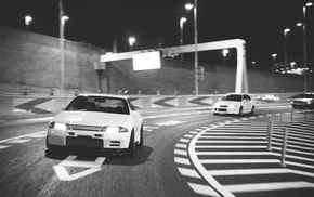 Nissan GT, R R32, old car, Mitsubishi, city, Nissan GT