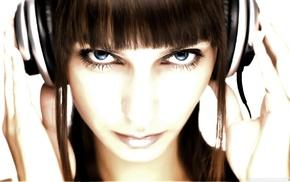 girl, brunette, headphones