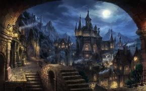 cityscape, fantasy art, dark fantasy