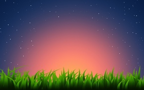 звезды, минимализм, закат, Трава