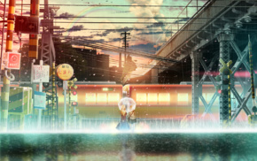 anime girls, train station, anime