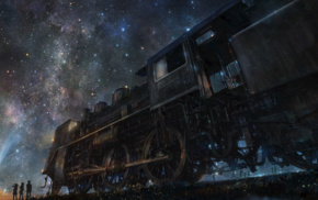group of people, train, stars, night, railway