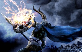Amon Amarth, horns, Loki, spear, metal music, Vikings