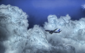 sky, clouds, aircraft, airplane